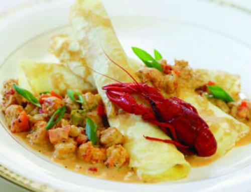 Crawfish & Goat Cheese Crepes