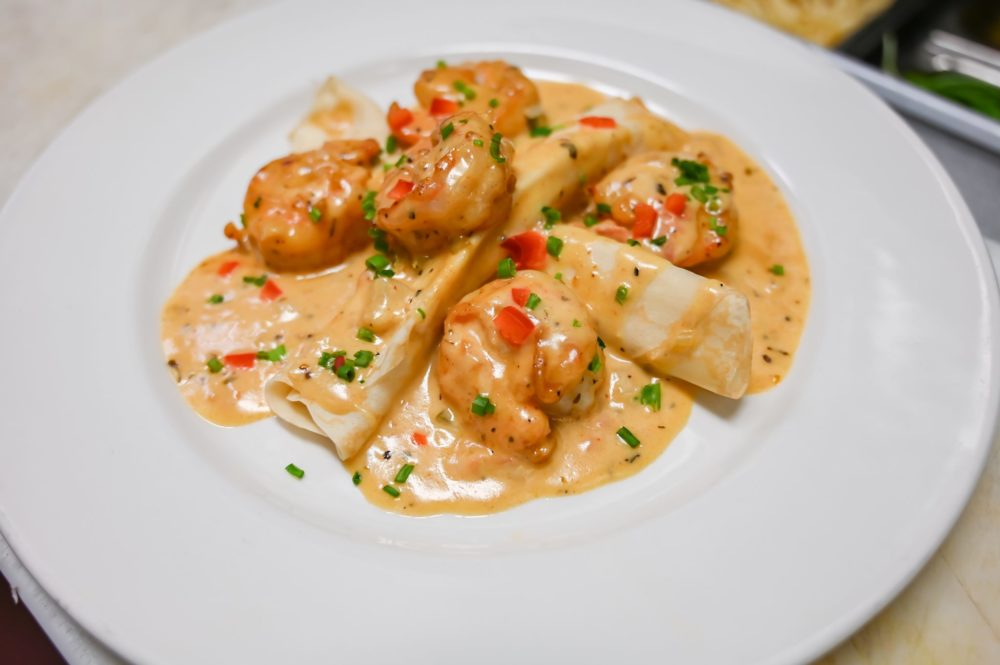 Shrimp & Goat Cheese Crepes